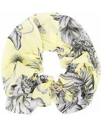 Pinko Floral-print Hair Scrunchie - Yellow