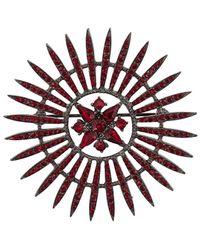 Oscar de la Renta Crystal Embellished Brooch - Red