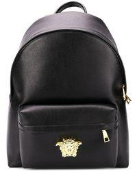 Versace Medusa Logo Leather Backpack - Black