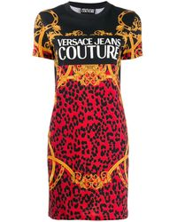 Versace Jeans - バロック レオパード Tシャツワンピース - Lyst