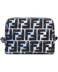 Fendi Ff Trapezoid Makeup Bag - Blue