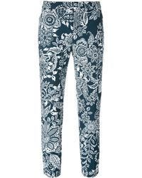 Fay Cropped Floral Trousers - Blauw