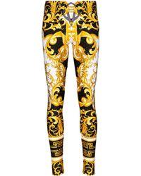 Versace Leggings Barocco con stampa - Nero