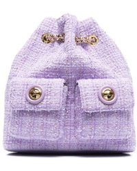 Elisabetta Franchi Tweed Drawstring Backpack - Purple