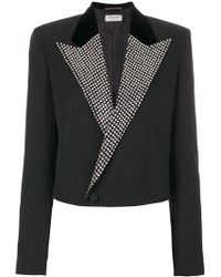 Saint Laurent - Crystal Stud Iconic Le Smoking Spencer Cropped Jacket - Lyst