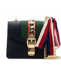 7ec8dd71a27 Gucci Mini Sylvie Shoulder Bag in Gray - Lyst