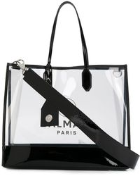 Balmain Transparenter Shopper mit Logo - Schwarz