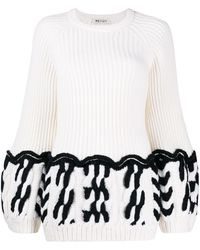 Ports 1961 Fully Fashioned Crew Neck Knit Jumper - White
