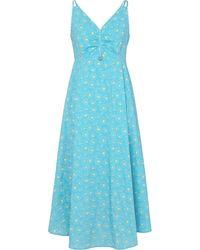 PORTSPURE フローラル ノースリーブドレス - ブルー