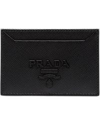 Prada - Black Logo Embossed Leather Cardholder - Lyst