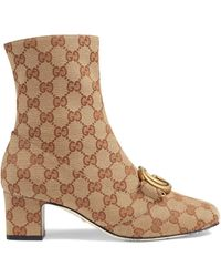Gucci GG Ankle Boot With Double G - Natural