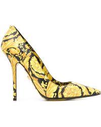 Versace Baroque Printed Pumps - Yellow