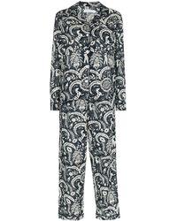 Desmond & Dempsey Pyjama Met Print - Blauw