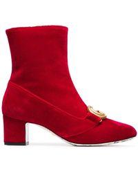 Gucci Бархатные Ботильоны Victoire 55 - Красный