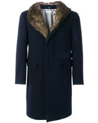Thom Browne Detachable Gold Beaver Collar Melton Wool Chesterfield Overcoat - Blu