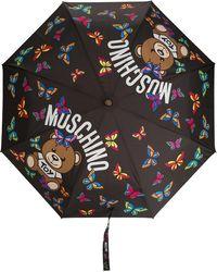 Moschino Regenschirm mit Logo-Print - Schwarz