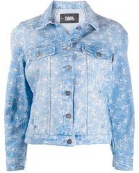 Karl Lagerfeld Orchid-print Denim Jacket - Blue
