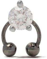 Delfina Delettrez Pendiente Two In One en oro blanco de 18kt con diamantes - Metálico