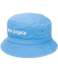 Palm Angels Embroidered Logo Bucket Hat - Blue