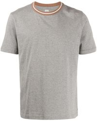 Eleventy ストライプ ネックライン Tシャツ - グレー