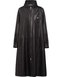 Prada Leren Trenchcoat - Zwart