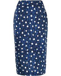 Diane von Furstenberg ジオメトリックパターン スカート - ブルー