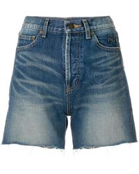 Saint Laurent Cut-off Denim Shorts - Blauw