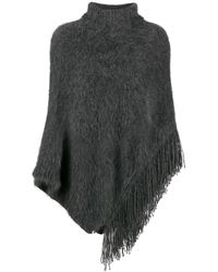 Fabiana Filippi Asymmetric Knitted Poncho - Grey