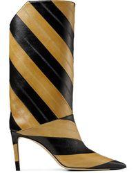 Jimmy Choo Diagonal Stripe Goatskin 85mm Boots - Black