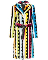 Mary Katrantzou - Stokes Striped Faux Fur Coat - Lyst