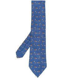Hermès 2000's Pre-owned Rabbits, eggs And Stars Printed Tie - Blue