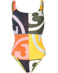 Tory Burch Слитный Купальник С Логотипом - Многоцветный