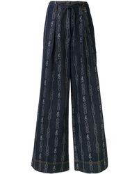 Tory Burch Chain Link-jacquard Wide-leg Jeans - Blue