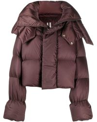 Rick Owens Cropped Puffer Jacket - Brown