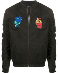Blood Brother Snake Patches Bomber Jacket - Black