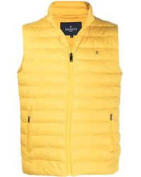 Hackett Padded Logo Embroidered Gilet - Yellow