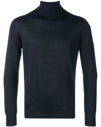 Cruciani Roll-neck Fitted Jumper - Blue
