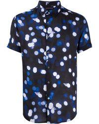 Emporio Armani Camisa con motivo de puntos y logo - Azul
