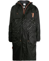 PUMA Padded-layer Long Hooded Coat - Black