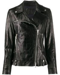 DROMe クロコエンボス ライダースジャケット - ブラック