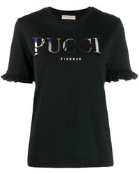 Emilio Pucci Ruffled Sleeves Logo T-shirt - Черный