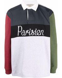 Maison Kitsuné Рубашка Поло Parisien В Стиле Колор-блок С Вышивкой - Серый