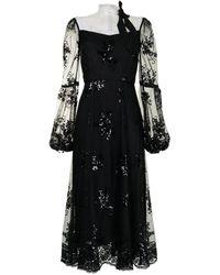 Macgraw シアーパネル スパンコール ドレス - ブラック