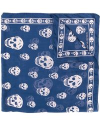 Alexander McQueen Skull printed silk scarf - Bleu