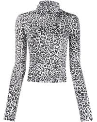 Just Cavalli Leopard Roll-neck Top - White