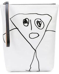 Plan C Graphic Print Clutch Bag - White