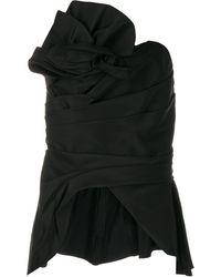 Marchesa ドレープ ぺプラムボディスーツ - ブラック