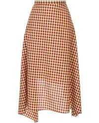 Ports 1961 Check Asymmetric Midi Skirt - Red