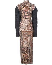 Vera Wang Robe longue imprimée à manches en maille - Multicolore