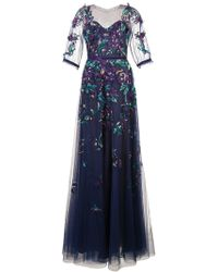 Marchesa notte Embroidered Tulle Ball Gown - Blauw